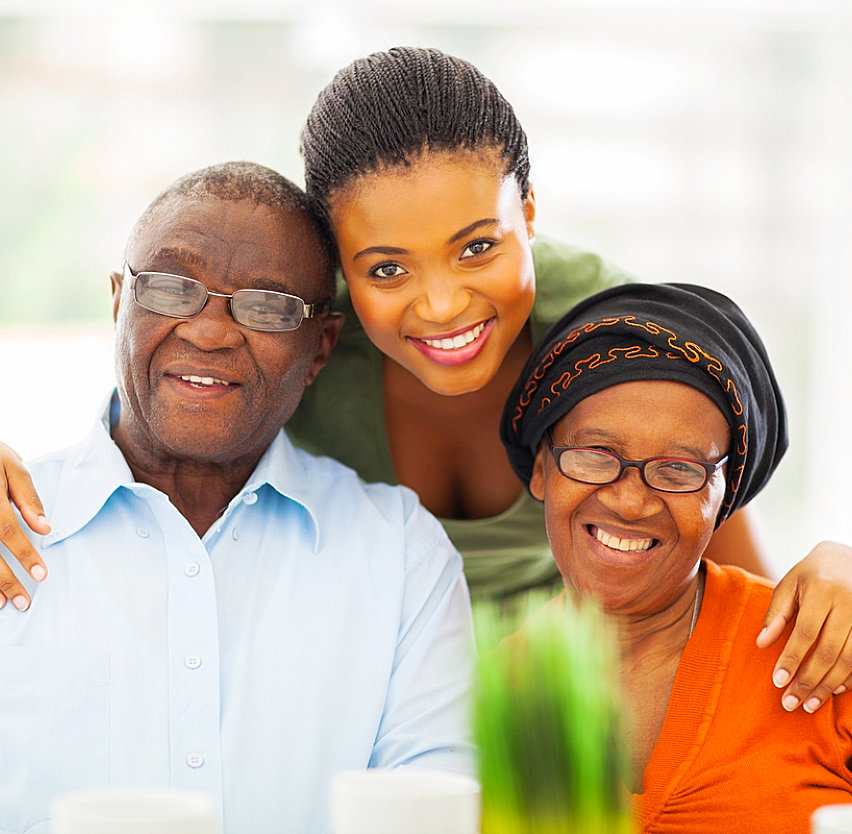 caregiver with elderly couple